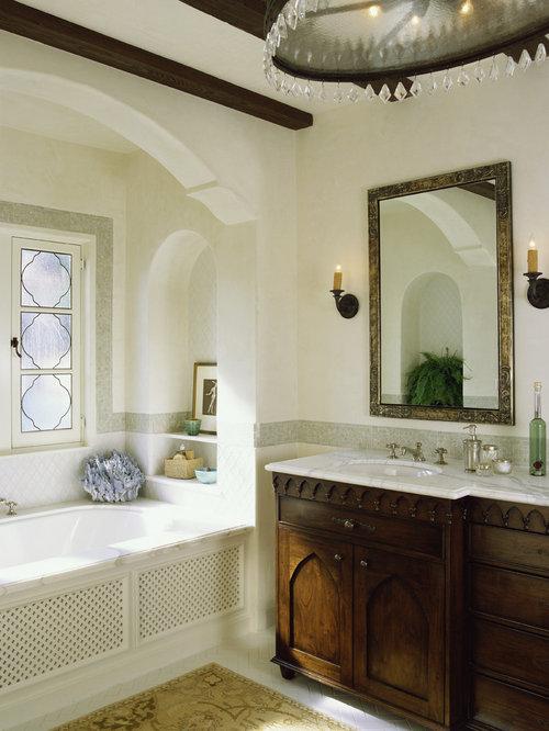 Alcove Bathtub   Mediterranean Alcove Bathtub Idea In Los Angeles With  Furniture Like Cabinets And
