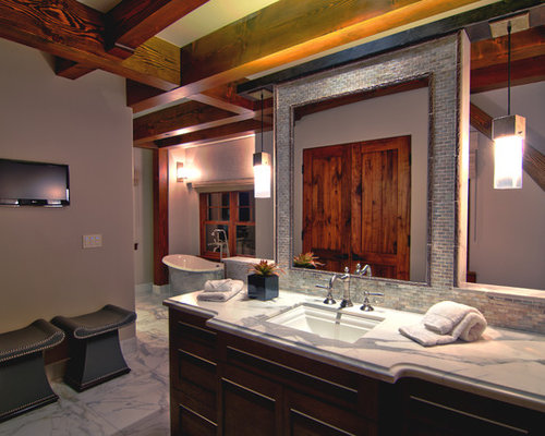 ... Design Ideas, Remodels & Photos with Dark Wood Cabinets and Blue Tile