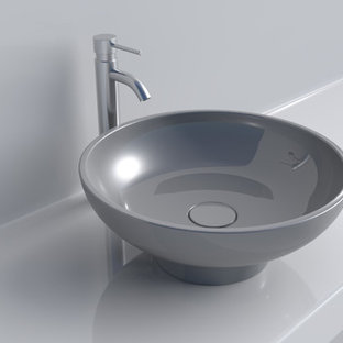 Inspiration for a contemporary bathroom in Vancouver with a vessel sink.