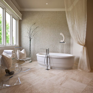 Inspiration for a contemporary mosaic tile and beige tile travertine floor freestanding bathtub remodel in Austin with beige walls