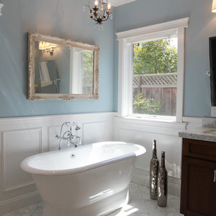 Traditional bathroom in San Francisco with a freestanding tub.