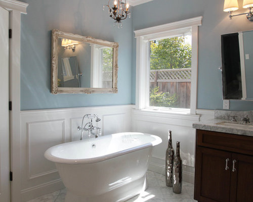 Wainscot in bathroom houzz for Wainscoting bathroom