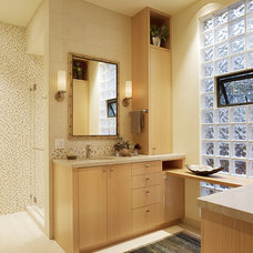 transitional bathroom by Moroso Construction