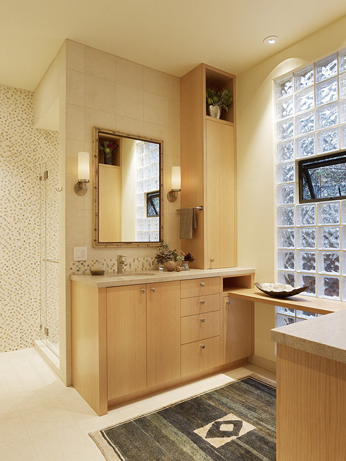 Example Of A Transitional Bathroom Design In San Francisco With Mosaic Tile