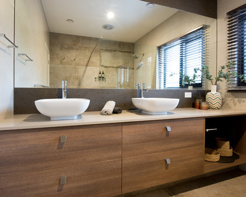 bathroom design ideas. Inspiration for a mid sized contemporary bathroom in Melbourne with  flat panel cabinets Bathroom Design Ideas Renovations Photos