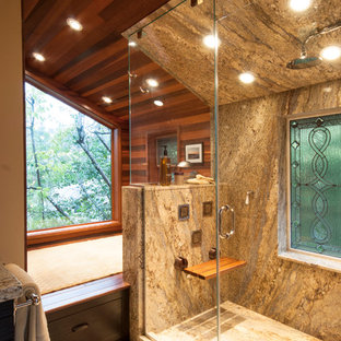 Example of a trendy beige tile alcove shower design in Seattle