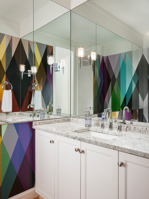 Inspiration For A Contemporary Bathroom Remodel In Seattle With An Undermount Sink Recessed Panel