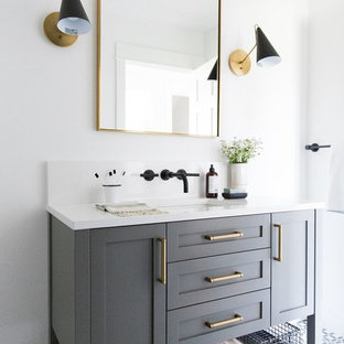 Medium sized classic family bathroom in Salt Lake City with grey cabinets, white walls, ceramic flooring, a submerged sink, white worktops, shaker cabinets and multi-coloured floors.