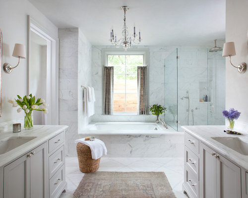 Inspiration For A Timeless Master Corner Shower Remodel In Austin With An Undermount Sink Shaker