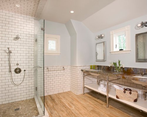 White Tile Subway Tile Gray Walls And Medium Tone Hardwood Floors