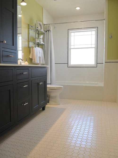 Bathroom   Mid Sized Modern White Tile And Subway Tile Mosaic Tile Floor  Bathroom Idea