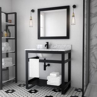 Идея дизайна: маленькая ванная комната в стиле лофт с открытыми фасадами, черными фасадами, душевой кабиной, врезной раковиной, мраморной столешницей и белой столешницей