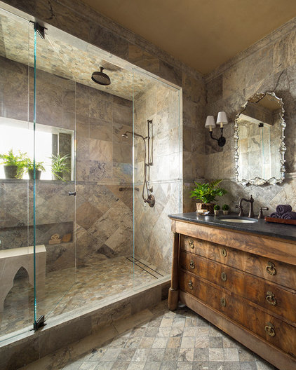 Transitional Bathroom by Greenauer Design Group