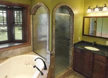 What is the glass in shower door? Thx