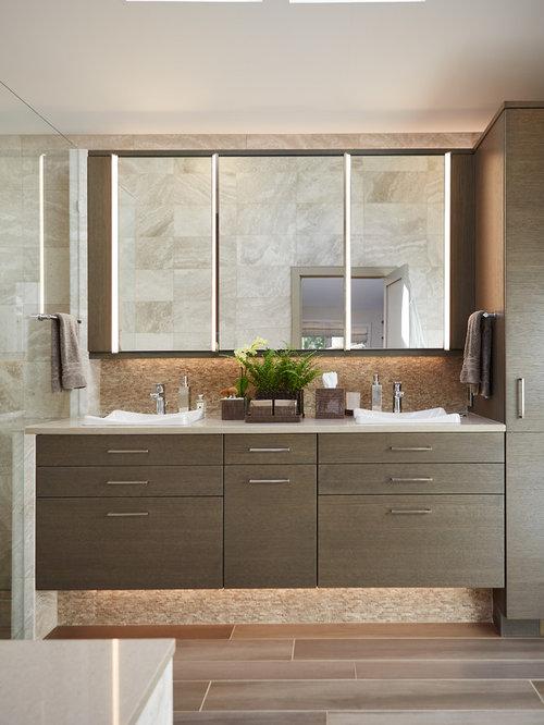 Stanza da bagno contemporanea con pavimento in vinile for Piastrelle in vinile