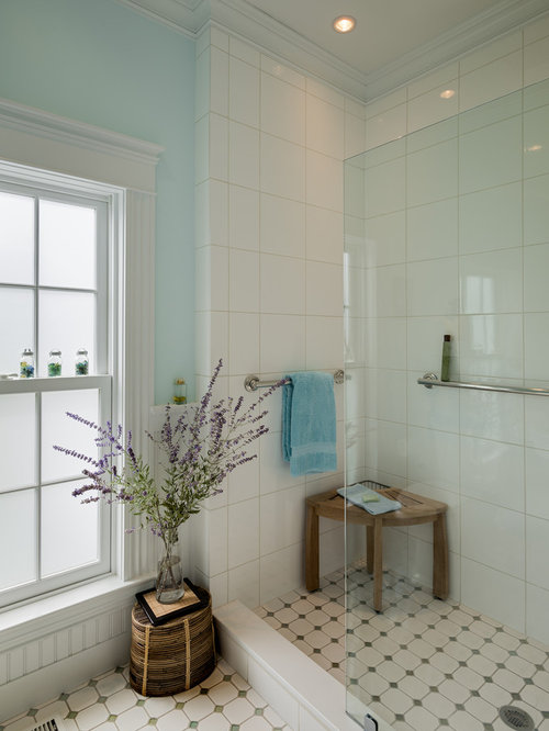 White Tile Shower Houzz