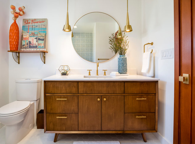 Midcentury Bathroom by Custom Design & Construction