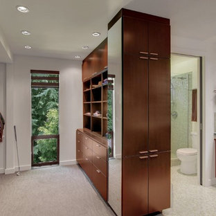 Example of a mid-century modern green tile and glass tile bathroom design in Seattle with a vessel sink, flat-panel cabinets, dark wood cabinets, glass countertops and white walls