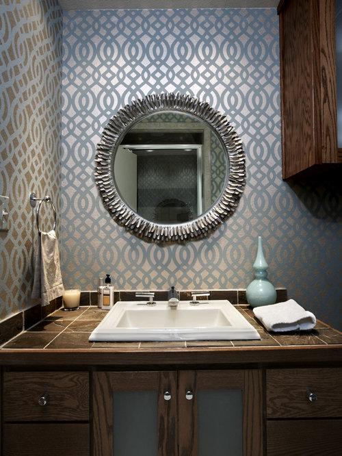 bathroom wallpaper design ideas  remodel pictures  houzz, Bathroom decor