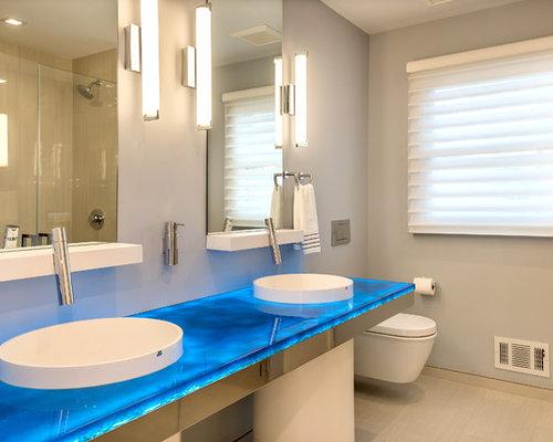 Salles de bains et wc modernes avec un plan de toilette for Plan de pose de carrelage