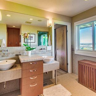Bathroom   1950s Master Beige Tile And Mosaic Tile Mosaic Tile Floor And  Beige Floor Bathroom