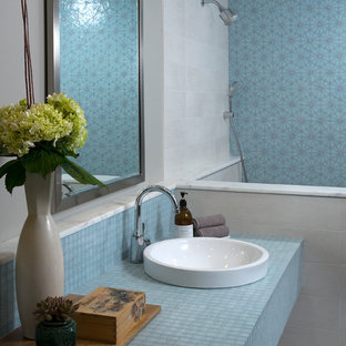 Design ideas for a contemporary bathroom in Phoenix with tiled worktops, blue tiles and blue worktops.