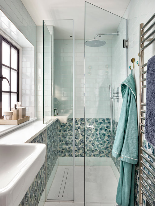 Shower Room Tile Design Ideas Part - 30: Design Ideas For A Traditional Shower Room In Manchester With An Alcove  Shower, Multi-