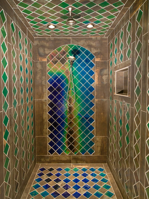 Unique shower tile houzz for Cool bathroom tiles