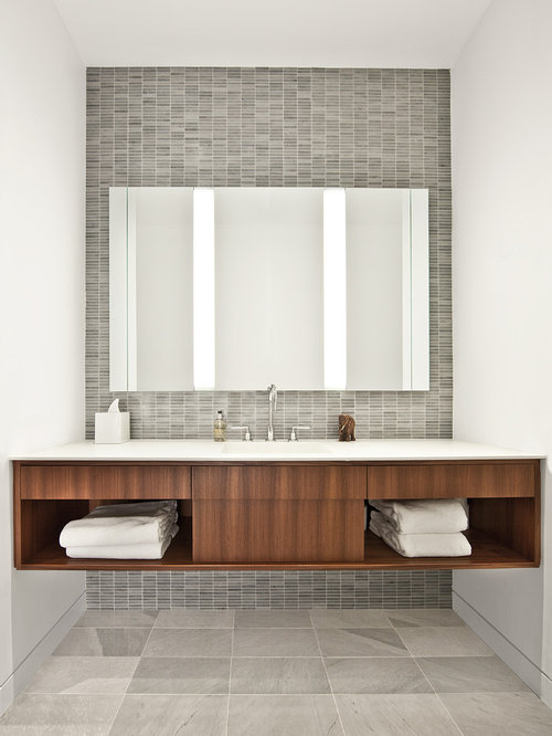 example of an urban bathroom design in chicago with open cabinets dark wood cabinets and - Fairmont Vanities