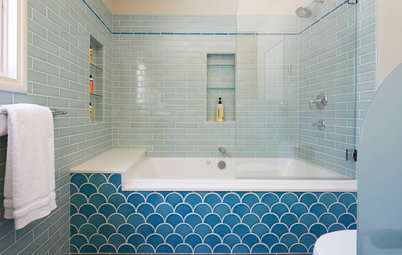 13 Baths Tiled in Beautiful Sea Glass Blue