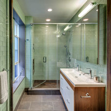 Midcentury Bathroom by Above Construction