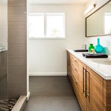 Midcentury Bathroom by Quartersawn Design Build
