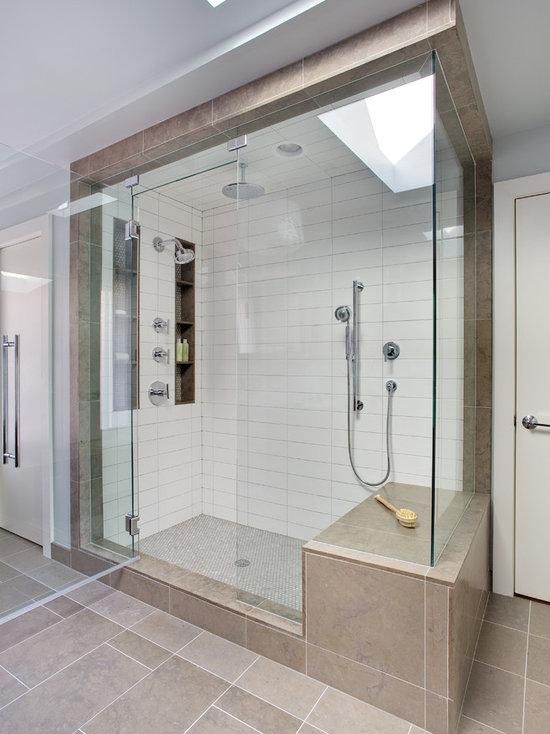 White Shower Tile Houzz