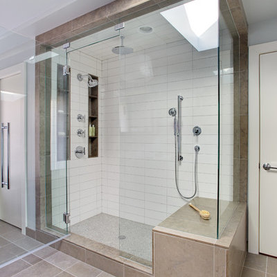 Trendy master white tile and ceramic tile bathroom photo in Richmond with a vessel sink and white walls