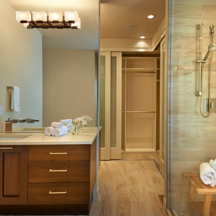Example of a trendy bathroom design in Denver with an undermount sink