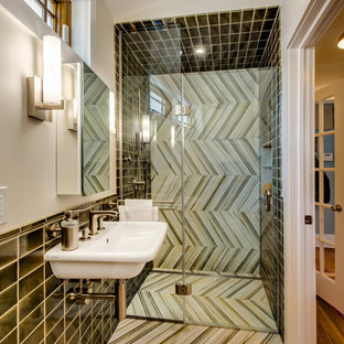 Example of a small trendy 3/4 multicolored tile and porcelain tile marble floor and multicolored floor walk-in shower design in New York with a wall-mount sink, white walls and a hinged shower door