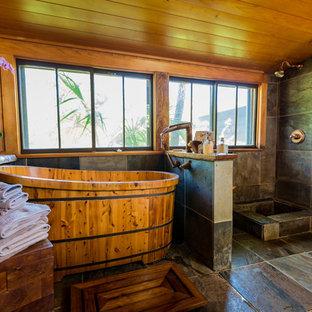 Salle de bain exotique avec un bain japonais : Photos et idées déco ...
