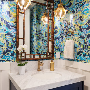 Bathroom - tropical bathroom idea in Salt Lake City with shaker cabinets, blue cabinets, multicolored walls and white countertops