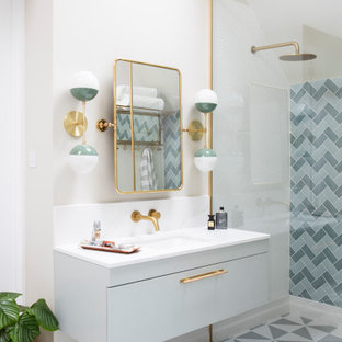 This is an example of a retro bathroom in Sussex.