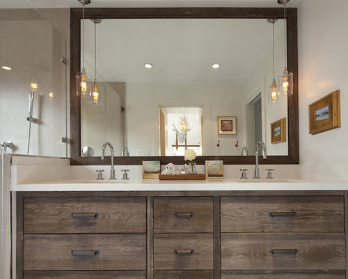 Mountain Style Beige Tile Bathroom Photo In San Francisco With An  Undermount Sink, Flat
