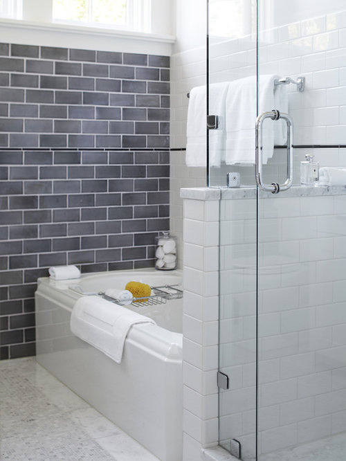 transitional gray tile and subway tile bathroom photo in san francisco - Bathroom Gray Subway Tile