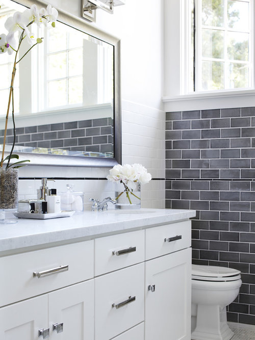 inspiration for a transitional gray tile and subway tile bathroom remodel in san francisco with shaker - Bathroom Gray Subway Tile