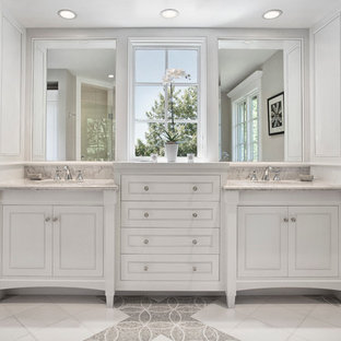 Inspiration for a timeless bathroom remodel in San Francisco with white cabinets