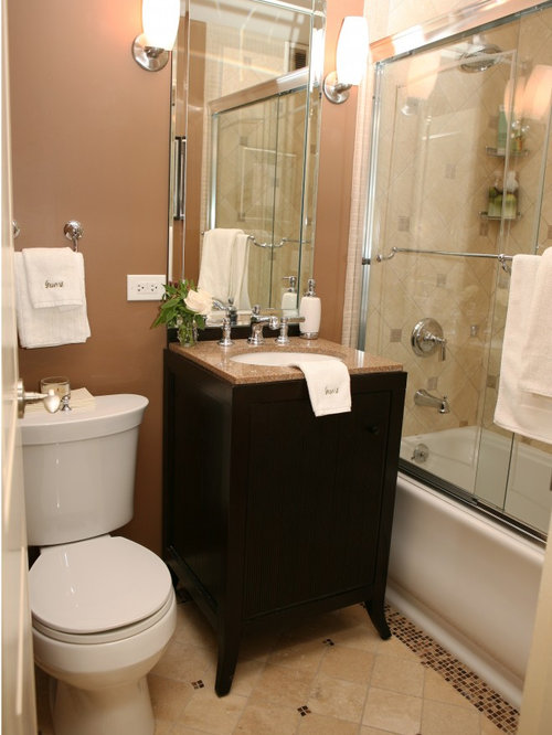 Bathroom design ideas renovations photos with pink tile for Pink and brown bathroom ideas