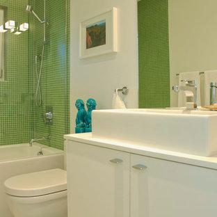 Bathroom - contemporary bathroom idea in Vancouver with a vessel sink