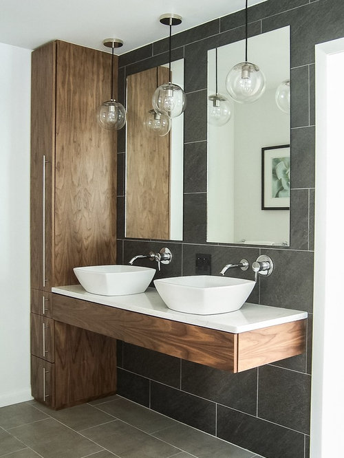 Inspiration for a mid-sized contemporary master gray tile and ceramic tile  ceramic floor bathroom