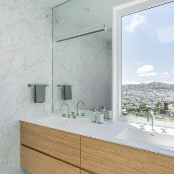 minimalist modern baths in a traditional  sf residence