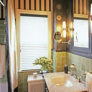 75 most popular victorian bathroom with green tiles design