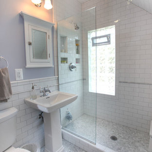 Bathroom - mid-sized traditional 3/4 white tile and subway tile mosaic tile floor and gray floor bathroom idea in Minneapolis with a pedestal sink, purple walls and a two-piece toilet