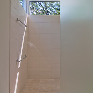 Inspiration for a modern walk-in shower remodel in Minneapolis